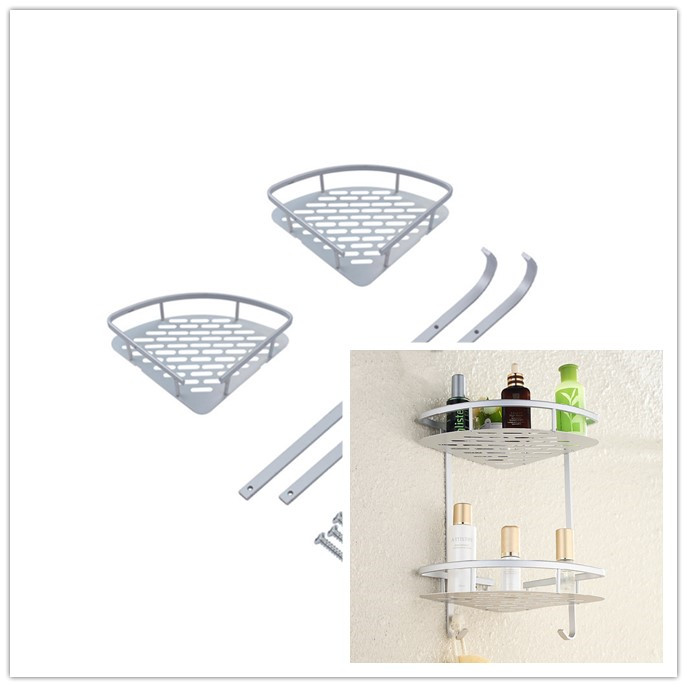 Hot Two Layer Wall Mounted Bathroom Rack Towel Washing Shower Basket Bar Shelf bathroom accessories shampoo holder