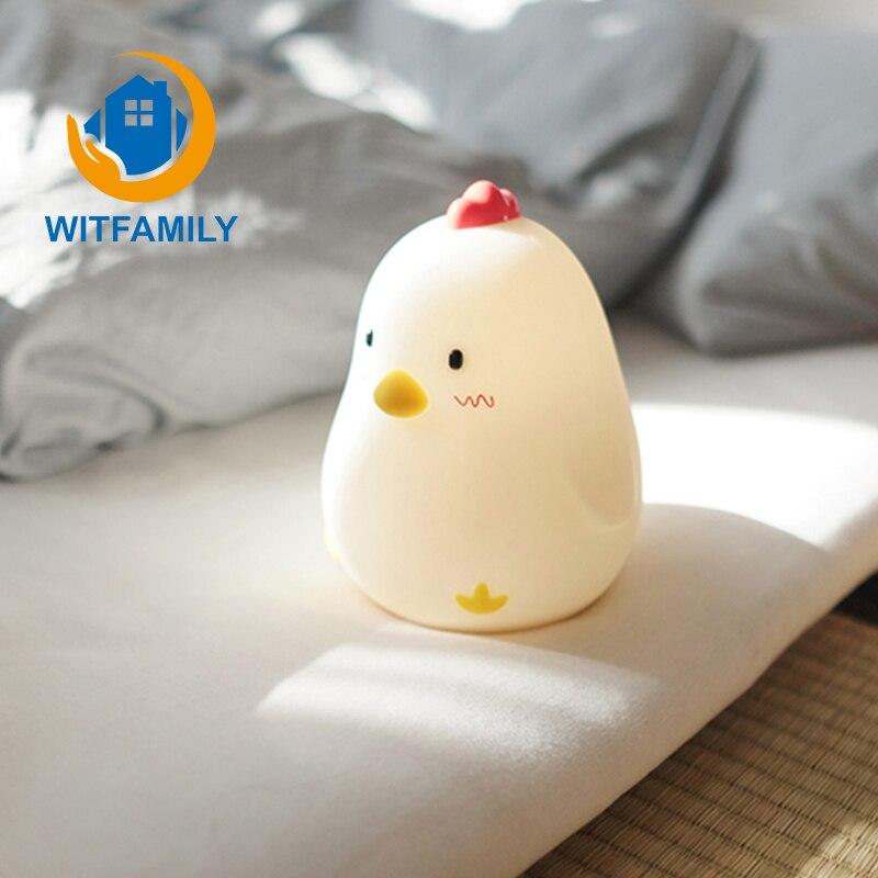 Touch Sensing Digital Show Luminous Electronic Alarm Clock Creative Silent Snooze Sleeping Timer Night Light Chicken Home Decor