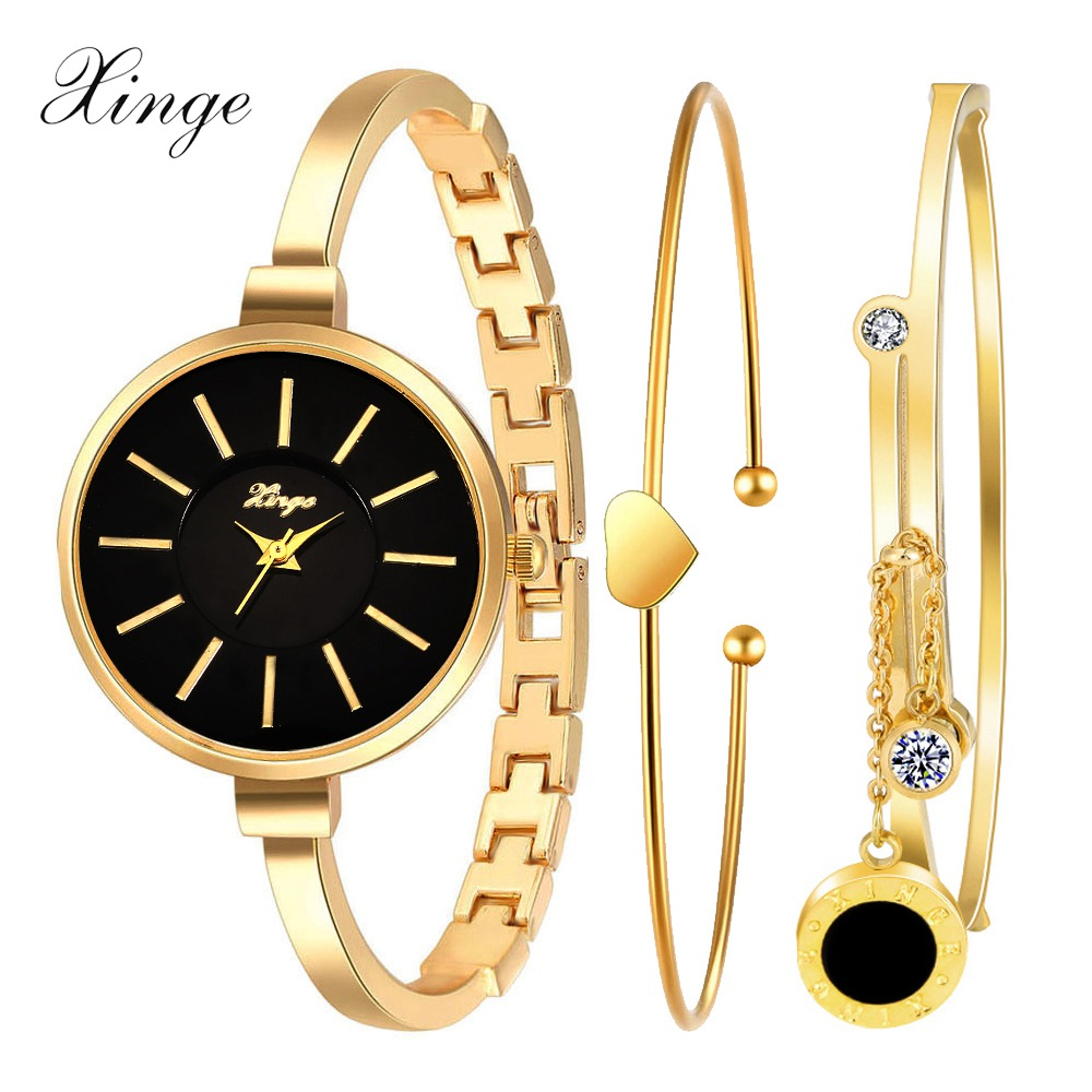 Xinge Fashion Brand Watch Women Gold Crystal Rhinestone Bracelet Wristwatch Heart Pendant Luxury Ladies Dress Quartz Watch women wristwatch women crystal rhinestone butterfly bracelet quartz watch wristwatch aug 23