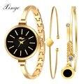 Xinge Fashion Brand Watch Women Gold Crystal Rhinestone Bracelet Wristwatch Heart Pendant Luxury Ladies Dress Quartz Watch