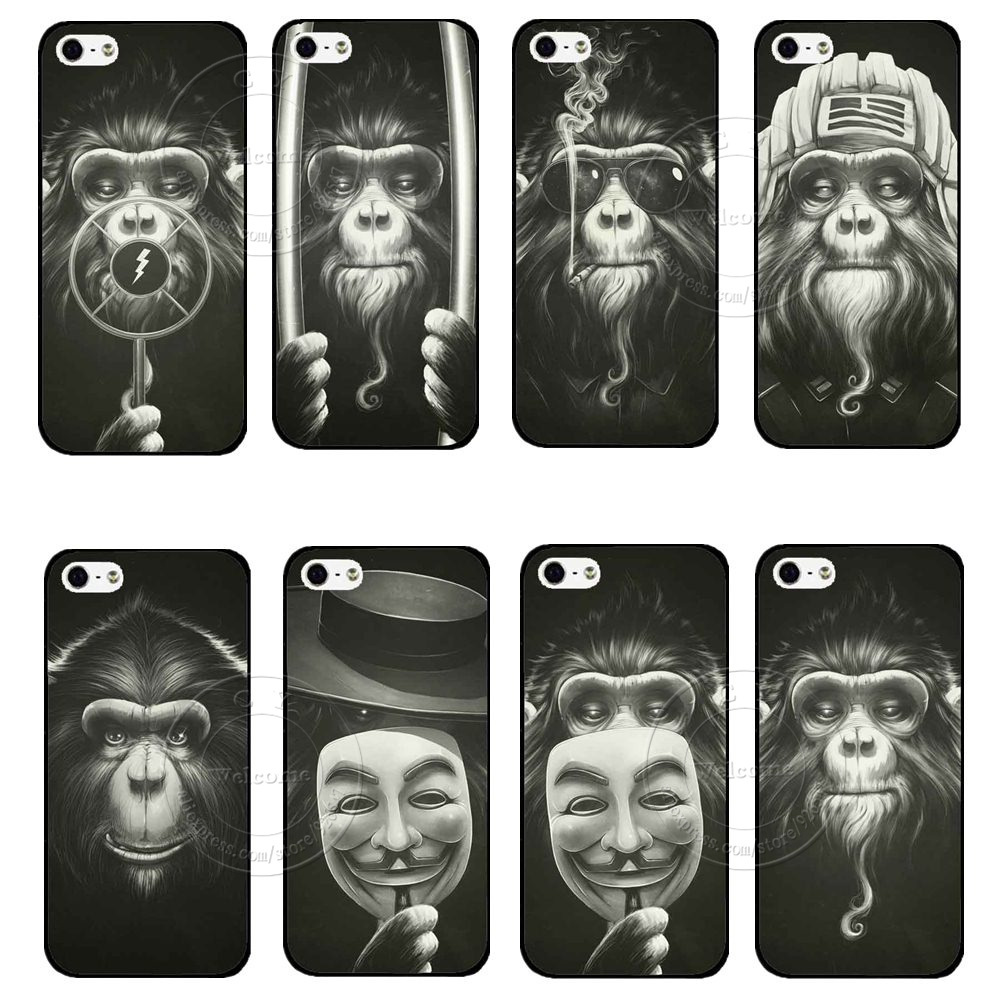 11 style Funny Design Smoking Orangutan Case Cover For Apple iPhone 4 4S 5 5S SE 1piece Free Shipping