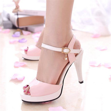 Free shipping summer women's fashion shallow mouth open toe sandals sweet all-match color block casual high heel shoes