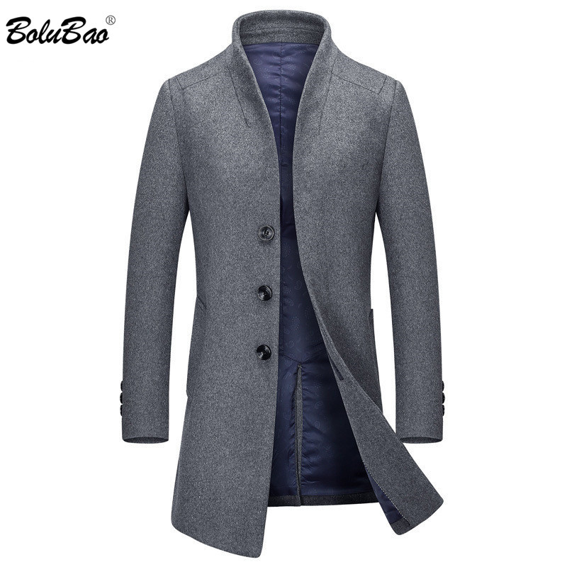 BOLUBAO Brand Men Wool Blends Coats Autumn Winter New Slim Fit High Quality Men's Wool Coats Wool Blends Long Section Coat Male