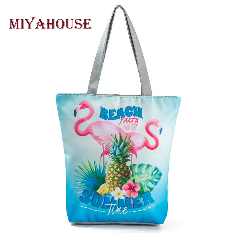Colorful Flamingo Design Canvas Tote Handbags Female Beach Bag Floral And Pineapple Printed Single Shopping Bags