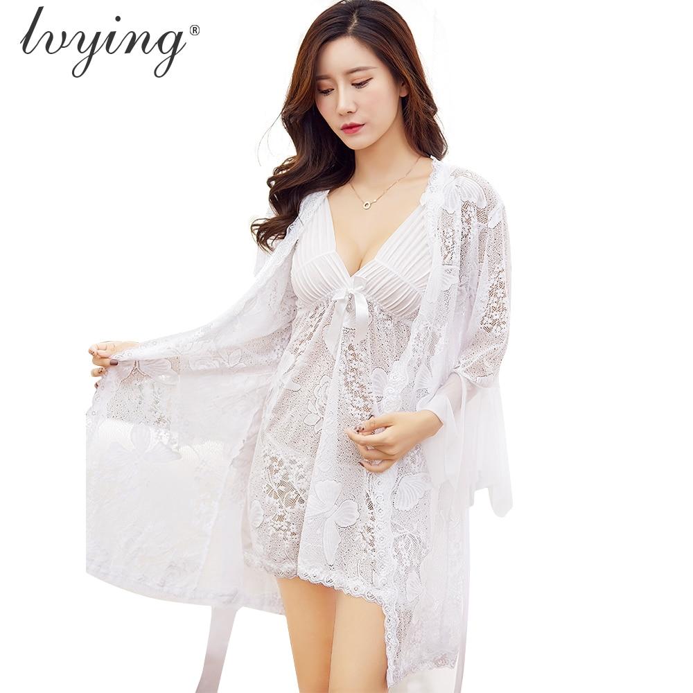 Women Pajama Sets Roses Butterflies Jacquard Nightgown Suits Sexy Lace Night Dress Lingerie Female Robe Sets Sleepwear Nightwear in Robe Gown Sets from Underwear Sleepwears