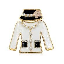 WEIMANJINGDIAN marka Vintage Style Lady Dress broszki czarno-białe szpilki emaliowane
