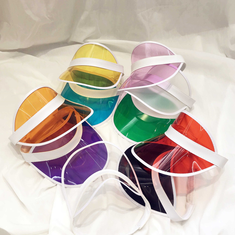 Summer Unisex Women Men Sun Hat Candy Color Transparent Empty Top Plastic PVC Sunshade Hat Visor Caps Bicycle Sunhat Wholesale
