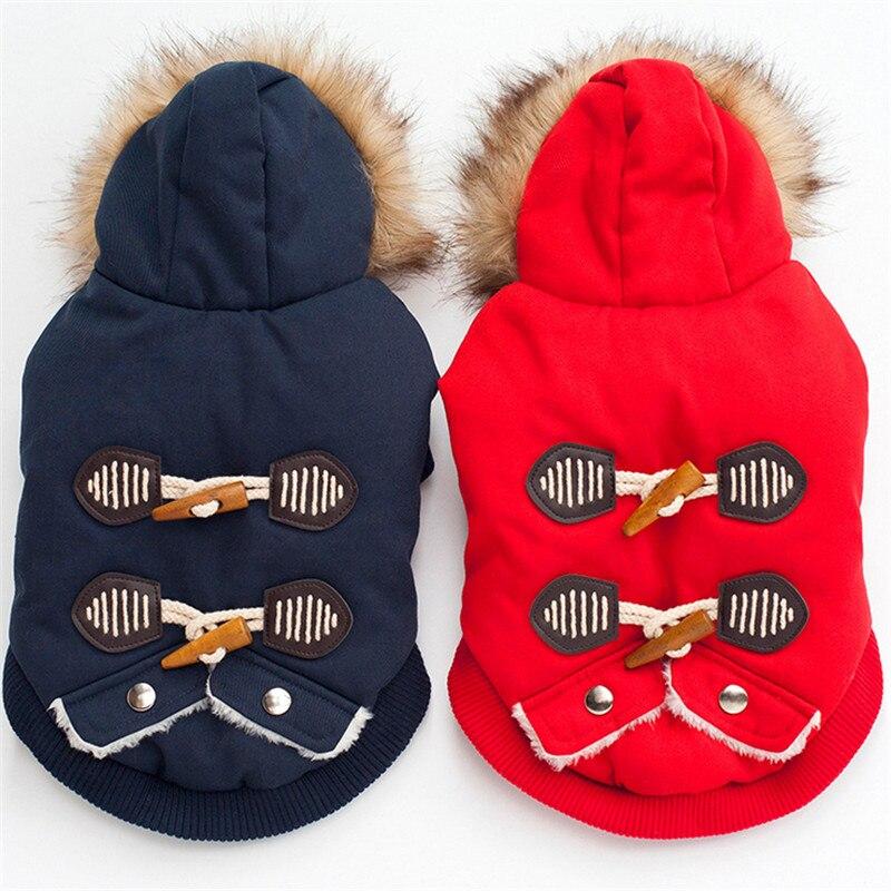 栄光kek冬犬のコート2017犬服用小型犬厚いフリースライナー暖かい毛皮フード付き犬ジャケットチワワ服赤