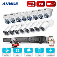 ANNKE 16CH 1080P Full HD TVI 4 In1 DVR 2000TVL In Outdoor 8pcs Bullet 8pcs Dome