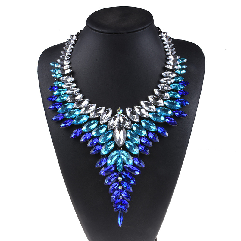 Multicolor AZTEC Boho Maxi Tribal Luxury Bridal V Shaped Rhinestone Necklace For Women Big Red Crystal Stone Collar Choker Party graceful rhinestoned three layered v shaped necklace for women
