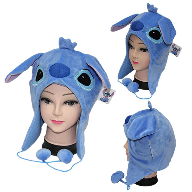 Stitch Cartoon Blue Plush Doll Warm Hat Cosplay Hat Animals Lilo Stitch Stuffed Doll Cap Birthday Christmas Gift For Children