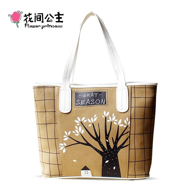 ФОТО Flower Princess Brand Designer Canvas Tote Bag Women Shoulder Bag Floral Printed Handbag Bolsa Feminina Bolsos Mujer Borse