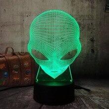 3D Emoji Alien Lamp Table Desk Night Light 7 Color Change USB LED Home  Decoration Wireless