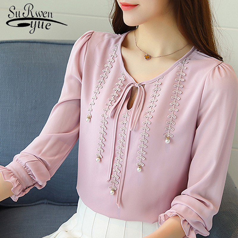 2018 Autumn fashion Women Chiffon   Blouse     Shirt   Petal Sleeve Blusas   Shirts   Femme Casual Tops Slim Ladies Plus Size   Blouses   80B