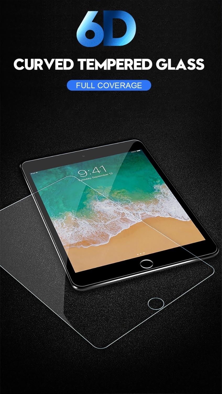 6D folia ochronna na ekran z zakrzywionymi krawędziami dla iPad Pro 11 10.5 9.7 ochronne szkło hartowane na dla iPad 2017 2018 powietrza 1 2 mini 2 3 4 2