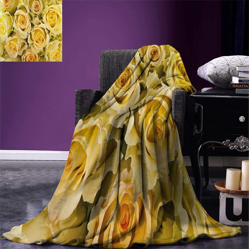 Rose Throw Blanket Bridal Flourish Yellow Roses With Wavy