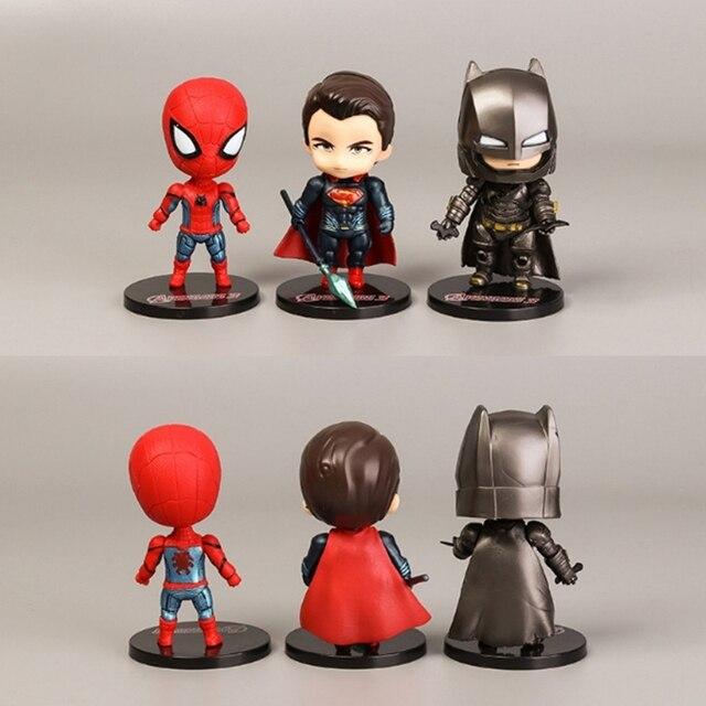 6 pçs/lote Super-heróis Os Vingadores Homem De Ferro Superman Homem Aranha Batman Thor América Joint Moveable PVC Modelo Figura Boneca Brinquedos