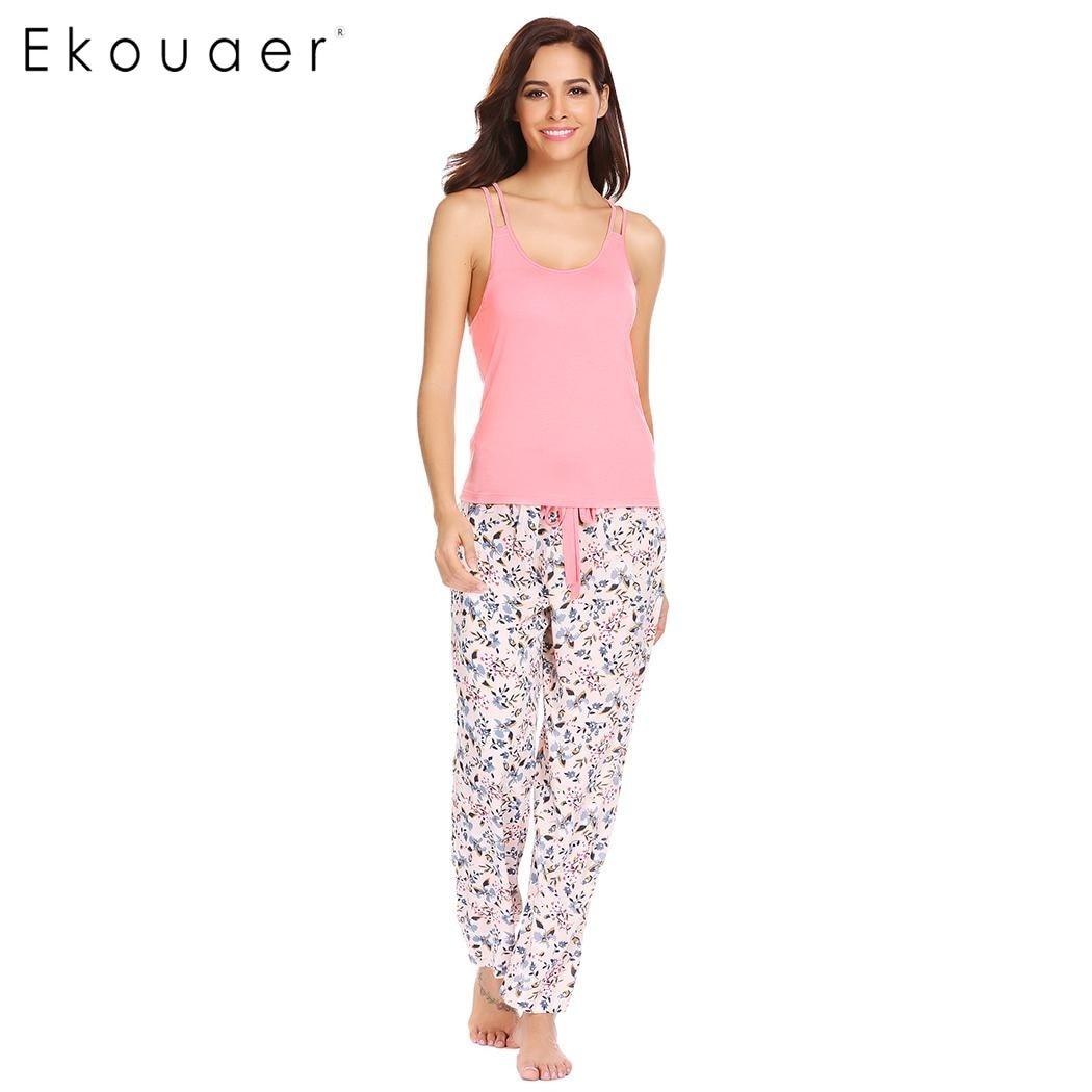 1353932e98 Ekouaer Mulheres 2 Peça Pijamas Pijamas O Pescoço Racerback Cami Set Pant  Feminino Roupa De Dormir