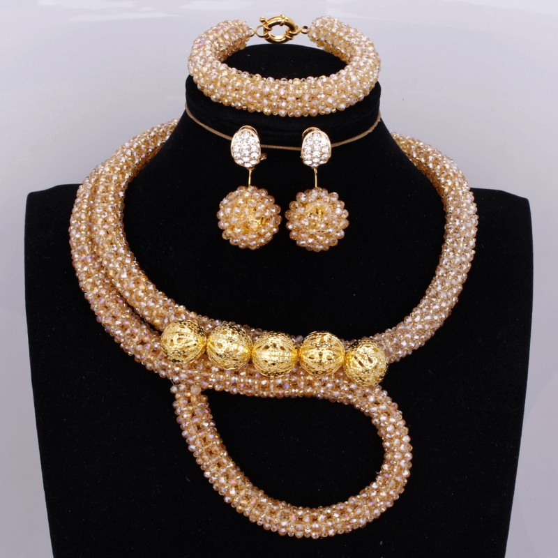 Fashion Women Wedding Dubai Jewelry Sets Gold Crystal Plated Balls Necklace Set Bridal Handmade Jewellery Set Free Shipping