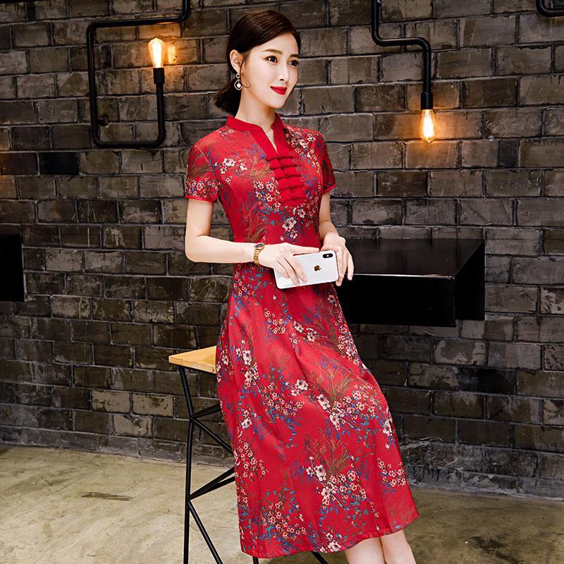 2019 Ao Dai Asian Dress Vietnamese Traditionally Dress Aodai Dresses Flower Printing Dress For Women Vietnam Party Dress