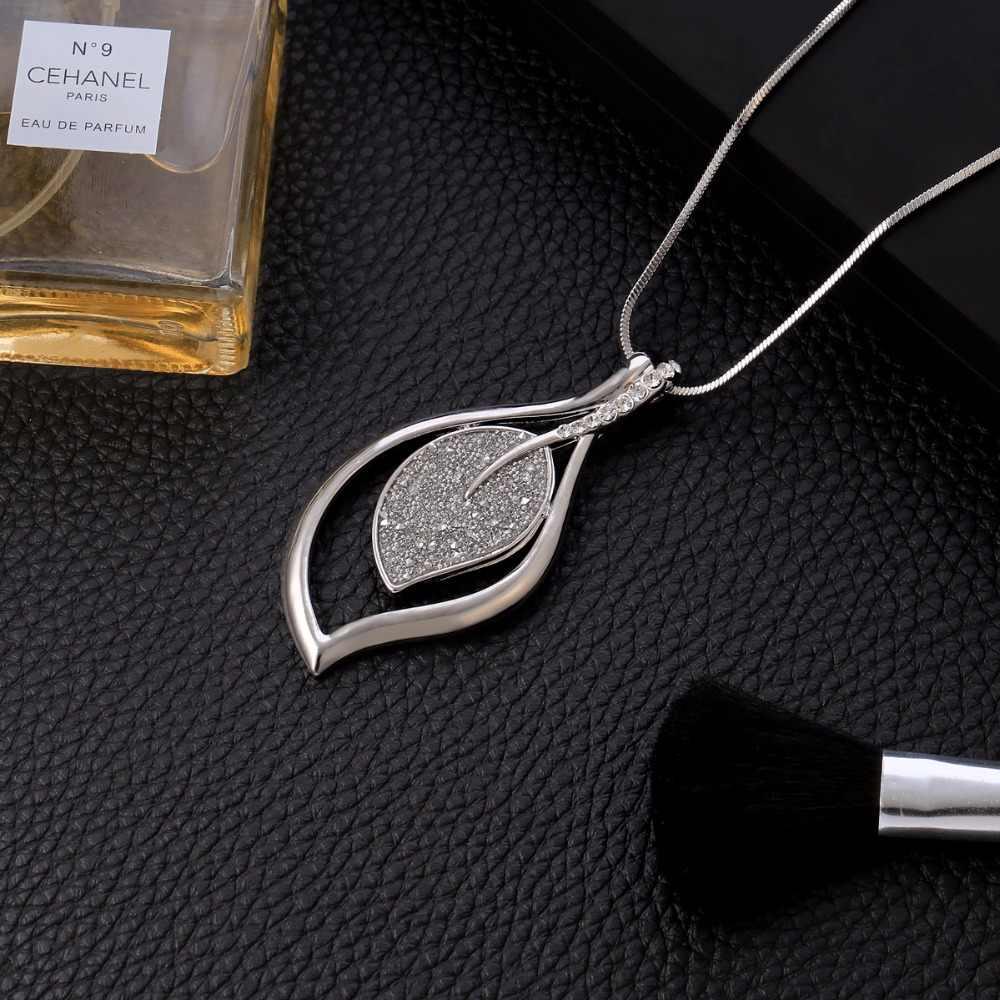 Vintage naszyjniki dla kobiet 2019 oświadczenie długi naszyjnik czarny kryształ wisiorek z łańcucha węża moda sweter biżuteria prezent