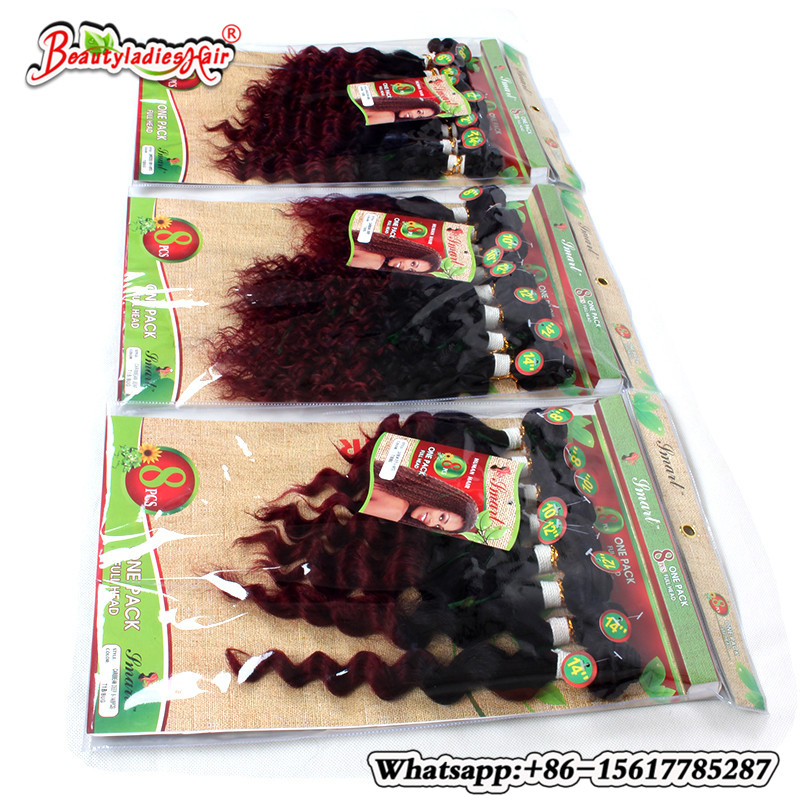 Eunice Hair Products 8Bundle Deep Curly Brazilian Kinky Curly - Syntetiskt hår - Foto 1