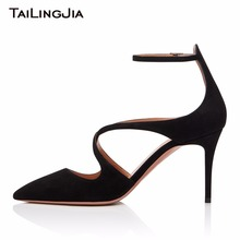 купить Pointed Toe Faux Suede 9CM Heel Height Black Woman Pumps Women Shoes Sexy Buckle Brand Party Evening Dress Shoes Free Shipping по цене 3711.83 рублей