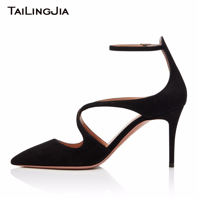 Pointed Toe Faux Suede 9CM Heel Height Black Woman Pumps Women Shoes Sexy Buckle Brand Party Evening Dress Shoes Free Shipping