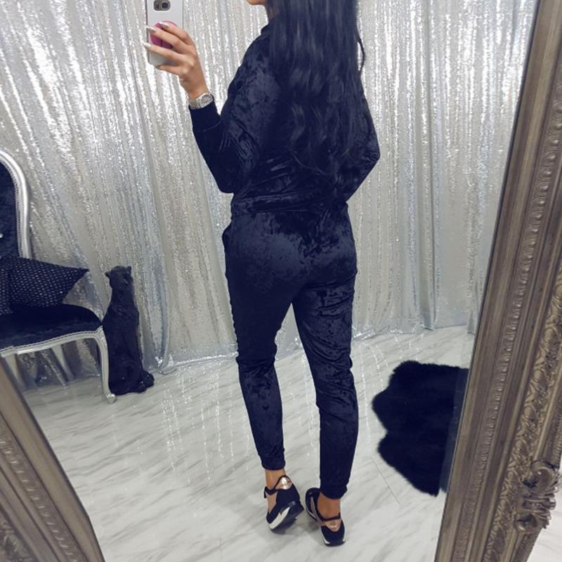 Velvet Fabric Womens Sets Full Sleeve Zipper Hoody Hooded Hoodie Long Pants Body Track Suit Jumper 2 Pieces Set WS3684Z