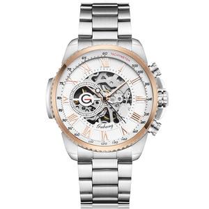 Image 3 - Luxury Top Silver Automatic Mechanical Men Watch Skeleton Steel Bracelet Self wind Wristwatch Male Blue Sliver Black Clock Reloj