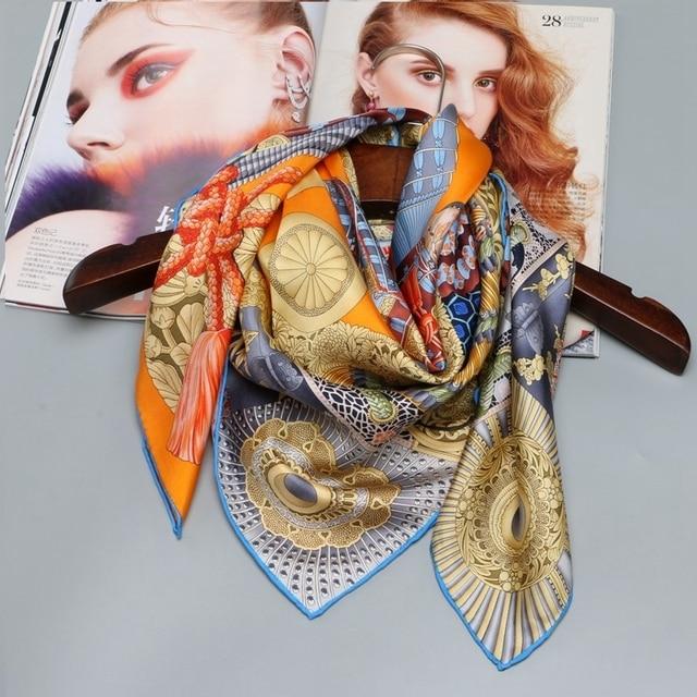 100% Soie Écharpe Hijab Foulard Foulards pour Cheveux Emballage Grand Carré  Twill De Soie Écharpes e0803b3e81c