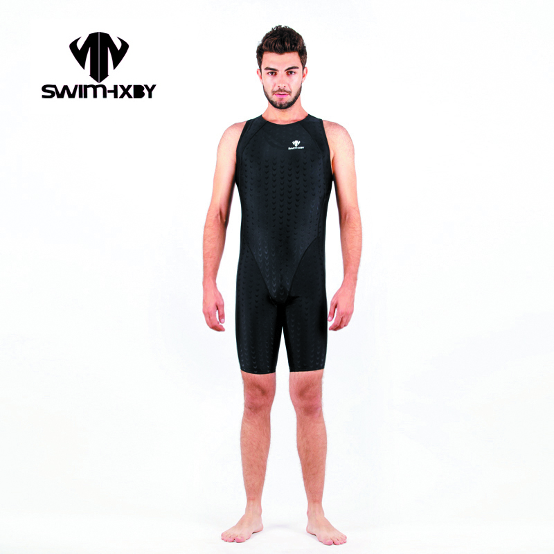 HXBY Black Mens One Piece Swimwear Men Swimsuit Solid Racing Bathing Suits Swimsuits Competitive Swimming Suit