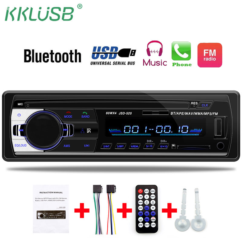 autoradio 12V Car Radio Bluetooth 1 din car stereo Player Phone AUX-IN MP3 FM/USB/radio remote control For phone Car Audio(China)