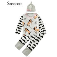 New Spring Autumn Baby Girls Clothing Sets Cartoon Horse T Shirt Pants Bow Hats Baby Clothes