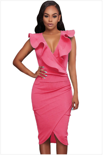 Online Shop Womens Wrap Dress Tight Pencil Dresses Ladies Clothing