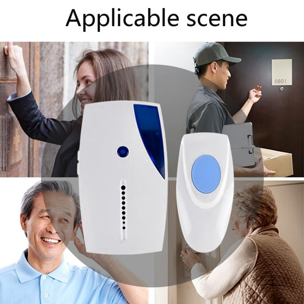 LESHP Wireless Doorbell 100m Range Cordless Music Door Bell With LED Light Remote Control Home Security System 32 Songs