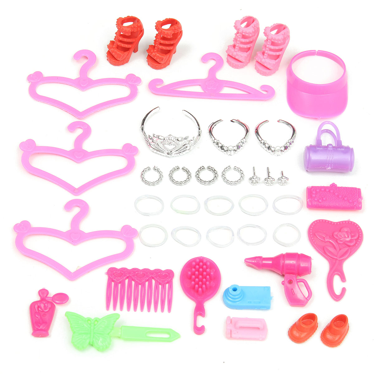 Equipment for Barbie Doll Set of Vogue Jewellery Necklace Earring Bowknot Crown Footwear Hangers rubber Accent Dolls Children Present