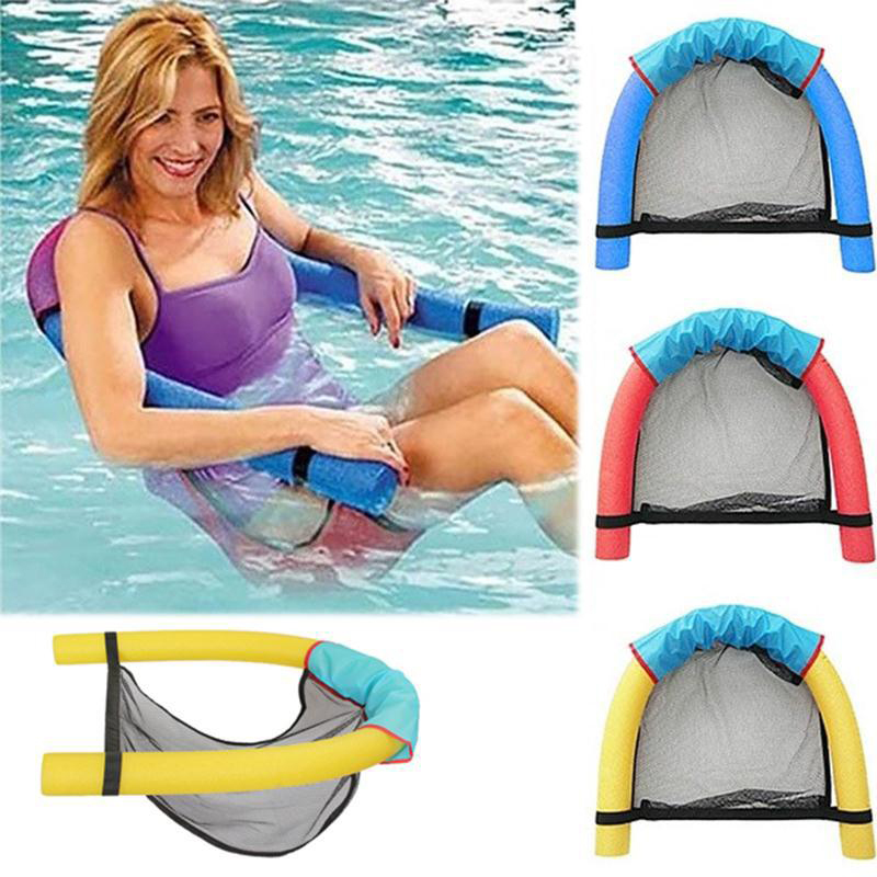 Swimming Floating Chair Water Seat Bed Buoyant Foam Stick Mesh Swimming Pool Float Supplies for Adults Children Learners