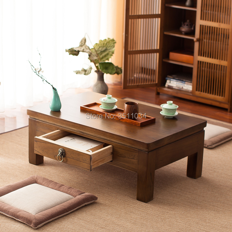 Us 173 0 Anese Antique Furniture Tea Table Wooden Storage Cabinet One Drawer Paulownia Wood Asian Traditional Living Room In Coffee
