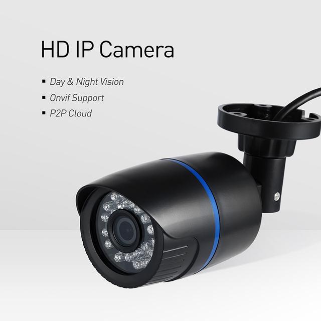 POE 1920 x 1080P 2.0MP Waterproof Bullet IP Camera 24LED Outdoor CCTV Camera ONVIF Night Vision P2P IP Security Cam (Black)