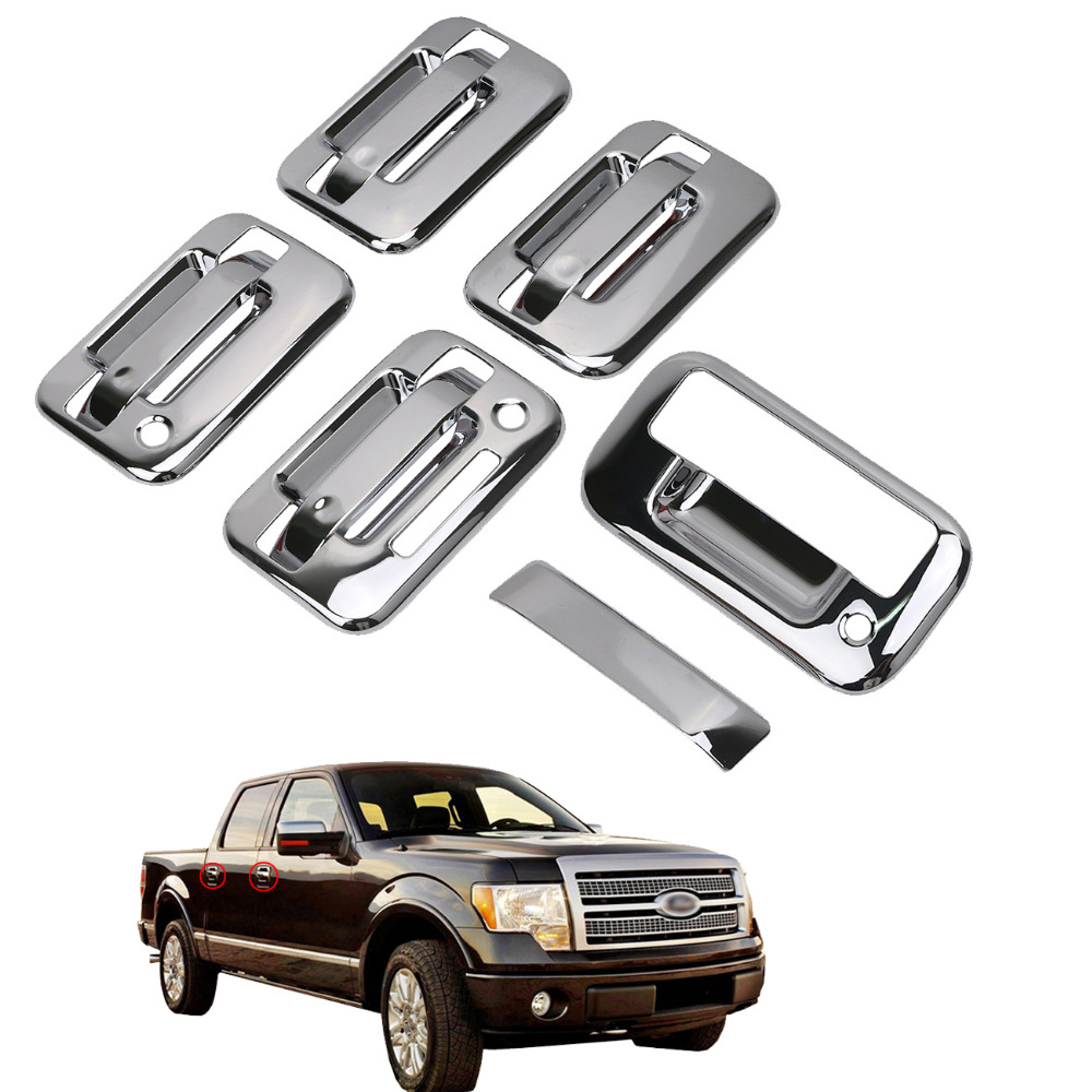 Wisengear for ford f150 f 150 2004 2014 chrome 4 door handle cover with keypad passenger keyhole tailgate cover rc028