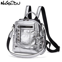 NIGEDU Glitter Backpack Women Shoulder bag Multifunction Backpacks For Teenage Girls Schoolbag Female Rucksack Travel Bag Silver