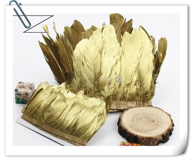 New arrival! 2m long big size gold goose feather ribbon/strips/skirts natural Goose Feather plumes for DIY Crafts/jewelry making