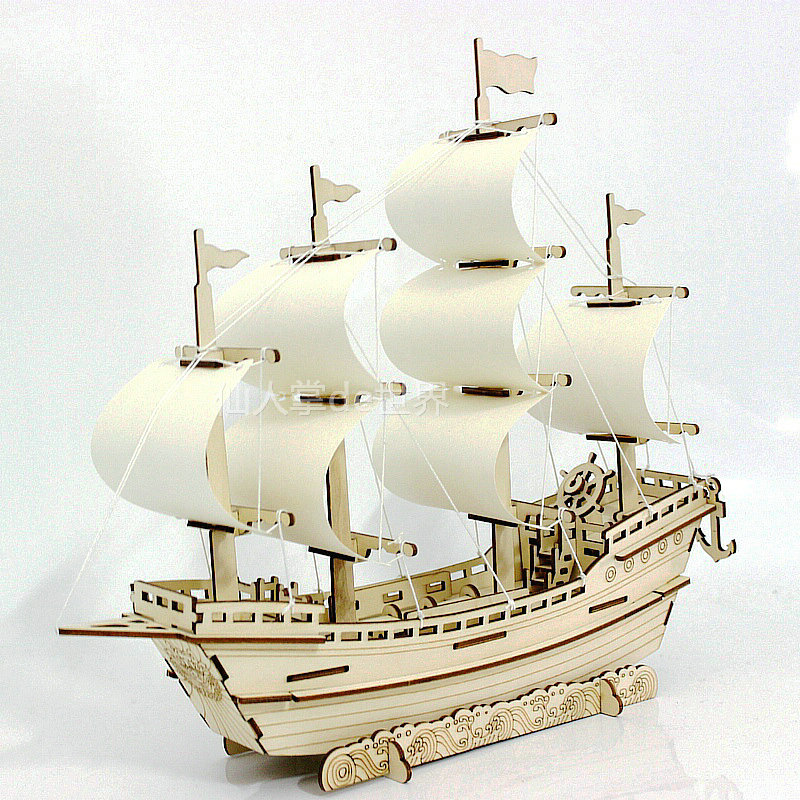 3D Wooden ship Jigsaw Toys Learning building ferry model DIY sailing boat plane puzzle