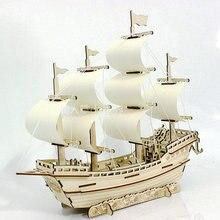 3D деревянный корабль пазлы Игрушки Обучающие строительные паром модель парусная лодка самолет головоломка самолет подарок для детей DIY деревянная детская игрушка