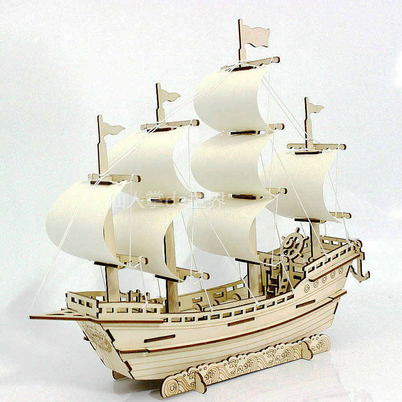 New hot Puzzles Wooden ship Toys Learning building ferry model sail boat Assemble puzzle Games best gift for kids DIY wood toy