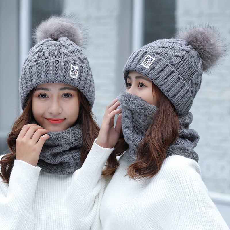 ผู้หญิงฤดูหนาวหมวกสกียี่ห้อ Big FUR POM poms ลูกบอลถักหมวกผ้าพันคอหมวกฤดูหนาวผู้หญิงหมวกหมวก warm Skullies หญิงหมวก