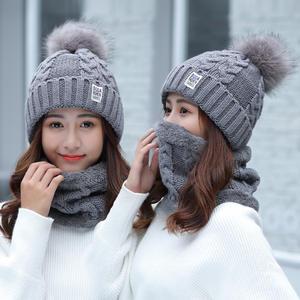 8a0211e985f Girl Warm Knitted scarf Winter women Beanie Hat female cap