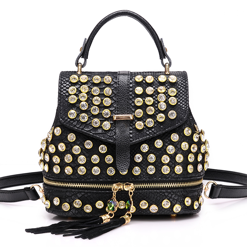2019 New Fashion Women Alligator Diamond Backpack Shoulder Bag Fashion PU Female Backpack Girl School Bag S106 6
