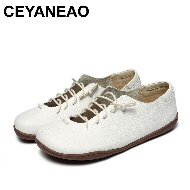 Sonderabschnitt Ceyaneao 2018 Neue Frauen Schuhe Weiß Lace-up Echtes Leder Wohnungen Mode Design 2061